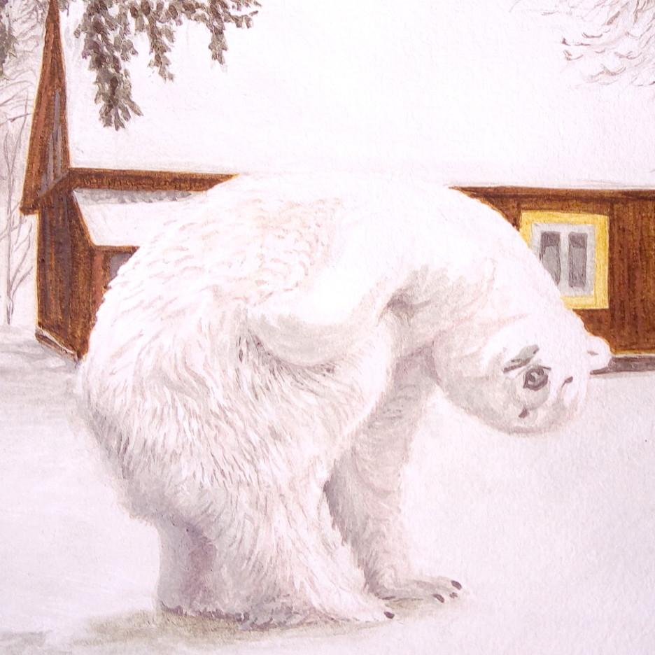 """Eisbär vor der Galerie """"Farben der Erde"""""""